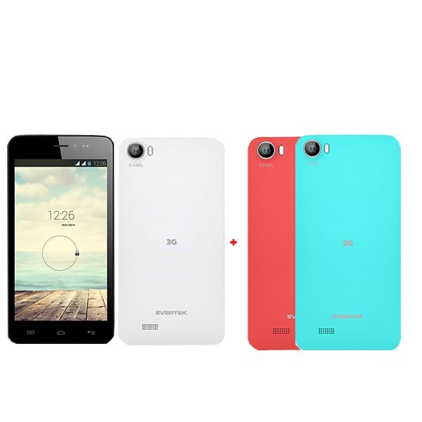 Téléphone Portable EverGlow D50 Blanc+2 Coques